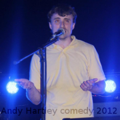 Comedian Andy Hartley performs in Emerson, IA.