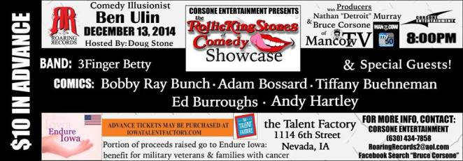 The RollickingStones of Comedy Showcase!  Dec 13th, 2014 8:00pm
